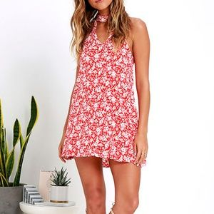 Lulu's Lean Close Ivory & Red Floral Swing Dress